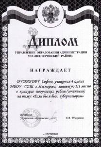 Дудикова Софья,3 место