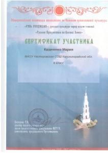 Казаченко Мария сертефикат участника 8 класс