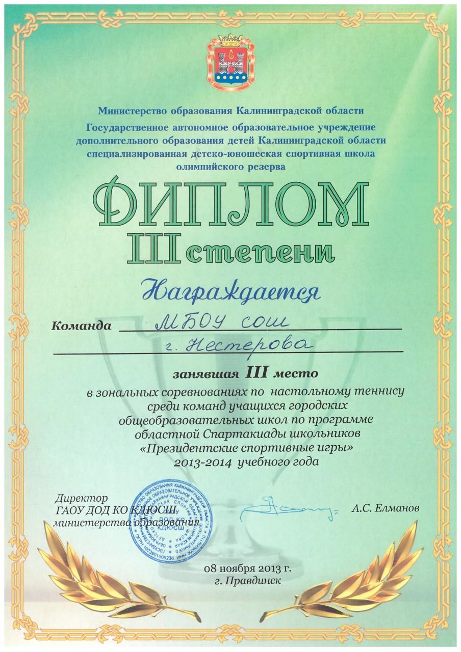 2013-14 настольный теннис 3 место-min