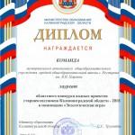 Диплом МО КО 2 место водные проекты