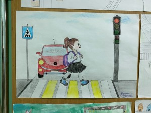 Выставка рисунков Мой безопасный путь в школу (8)